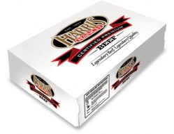 White carton imprinted with Harris Ranch logo, Certified Premium Beef, Legendary Beef. Legendary Quality.