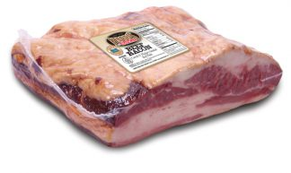 Shrink-wrapped package of Harris Ranch Beef Bacon.
