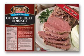 Corned Beef Brisket label, Harris Ranch logo, Sliced corned beef, coated with spices, on plate with parsley garnish, Ready to Cook!