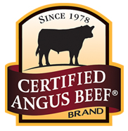 Certified Angus Beef Brand logo. Rounded top of rectangular shape says: Since 1978 and has silhouette of steer. Logo is gold with burgundy stripe