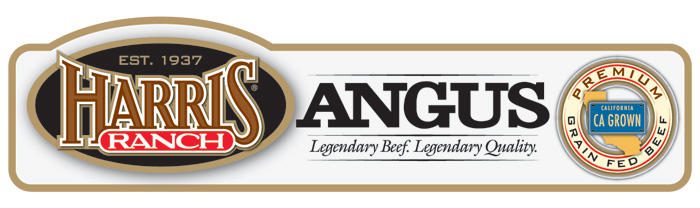 Harris Ranch Angus Label with HR logo and following text: Est. 1937, Legendary Beef. Legendary Quality. Premium Grain-Fed Beef, CA Grown.