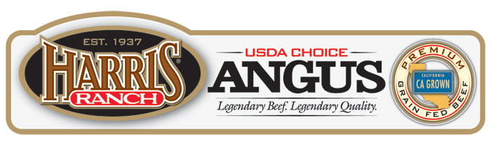 Harris Ranch USDA Choice Angus Label with HR logo and following text: Est. 1937, Legendary Beef. Legendary Quality. Premium Grain-Fed Beef, CA Grown.