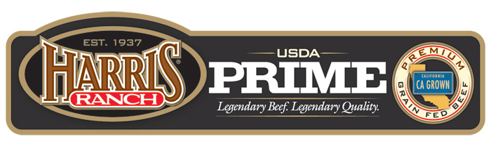Harris Ranch USDA Prime Beef Label with HR logo and following text: Est. 1937, Legendary Beef. Legendary Quality. Premium Grain-Fed Beef, CA Grown.