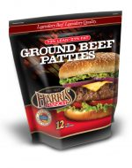 Unopened bag of 12 Ground Beef Patties, 73% Lean, 27% Fat, Harris Ranch logo and photo of cheeseburger with lettuce, onion and tomato