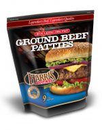 Unopened bag of 9 Ground Beef Patties, 81% Lean, 19% Fat, Harris Ranch logo and photo of cheeseburger with lettuce, onion and tomato