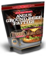 Unopened bag of 9 Angus Ground Beef Patties, 81% Lean, 19% Fat, Harris Ranch logo and photo of cheeseburger with lettuce, onion and tomato, Legendary Beef. Legendary Quality
