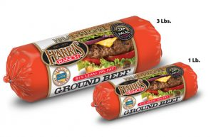 One 3 lb and one 1 lb package of Harris Ranch 81% Lean 19% Fat Halal Ground Beef chubs. Red packaging with white label has image of cheese burger with lettuce, onion and tomato