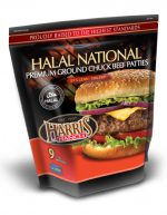 Unopened bag of 9 Halal National Premium Ground Chuck Beef Patties. Text on packaging: Proudly raised to the highest standards, 81% Lean, 19% Fat, Harris Ranch logo and photo of cheeseburger with lettuce, onion and tomato