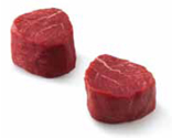 Two side-by-side cuts of uncooked filet mignon