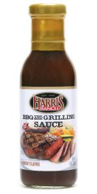 Bottle of Harris Ranch BBQ and Grilling Sauce. Image on label of grilled, sliced steak