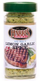 Unopened container of Harris Ranch No Salt Lemon Garlic Spice. Clear bottle with green lid. Spices are yellow and green.