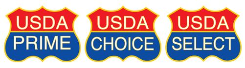 3 USDA seals: USDA PRIME, USDA CHOICE, and USDA SELECT