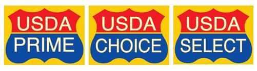 3 USDA seals: USDA PRIME, USDA CHOICE, and USDA SELECT