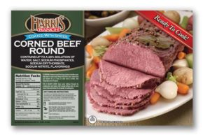 Corned Beef Round label, Harris Ranch logo, Sliced corned beef on plate with carrots and pearl onions, Seasoned with spices, Ready to Cook!
