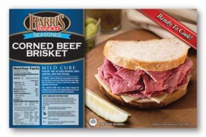 Seasoned Corned Beef Brisket Label with Harris Ranch logo, Corned Beef Sandwich image. Ready to Cook!