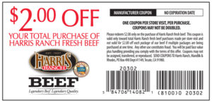$2 off coupon Harris Ranch Beef