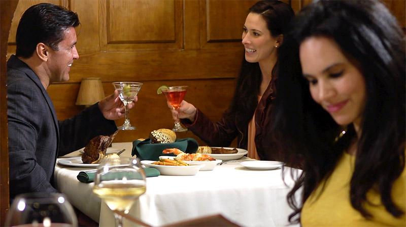 Restaurant diners enjoying cocktails