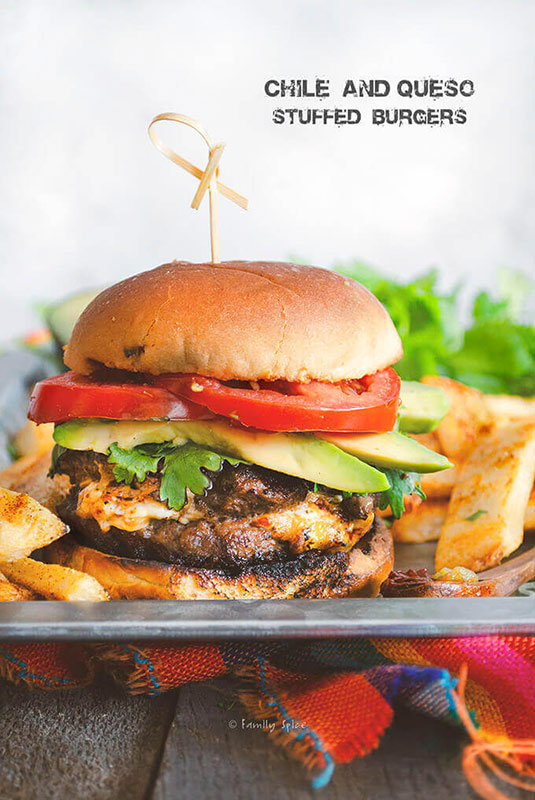 Chile and Queso Stuffed Burger
